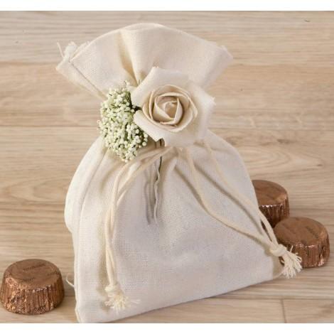 Bolsa algodón con bouquet floral y 4 bombones*