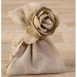 Flor de algodón beige con 3 bombones*