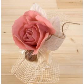 Flor de lino rosa con 2 bombones*