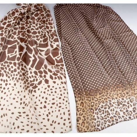 Foulard estampado animal marrón/beige 50x160cm, stdo.min.2