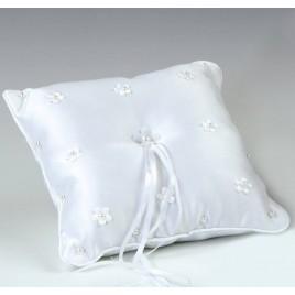 Cojín alianzas flores con perlitas blanco 20x20cm