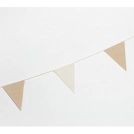 Guirnalda bandera tela 12x16cm. marfil y beige 180cm.