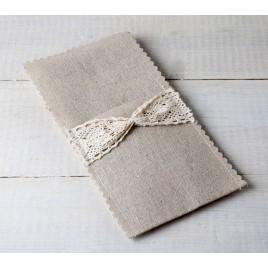 Sobre de lino y ganchillo para cubiertos 11x22cm, min.10
