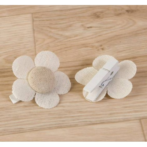 Pinza flor color marfil-beige lisa 4,5x4,5cm. min.6