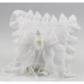 Cojín alianzas cuadros marfil flor perlitas 19x19cm