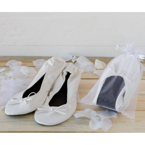 Bailarinas blanca imit. piel+bolsa, talla M min.2
