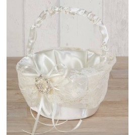 Cesta arras con blonda y broche de flor de perlas Ø15x20cm