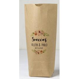 Bolsa Kraft Gracias tiara de flores 12x22,5cm. min.25