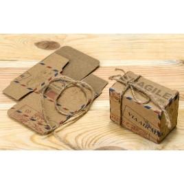 Caja air mail con cordón rústico 6x4,5cm., min.25
