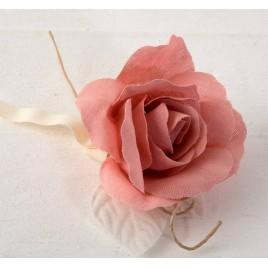 Flor de lino color rosa 11diamx18cm. min.12