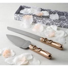 Juego de cuchillo/pala lazo love color bronce,set de 2