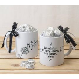 Taza cerámica música en el aire con caja regalo 6bombones