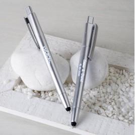 Bolígrafo plata ESTRELLAS con puntero táctil y LED interior