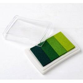 Almohadilla 7,5x5,2cm. de tinta degradado verde para dedo