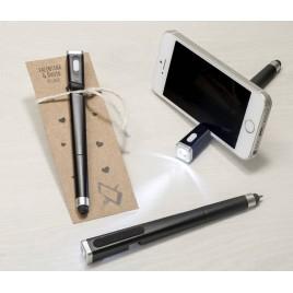 Bolígrafo linterna/soporte para móvil y punto de libro kraft