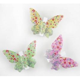 Pinzas mariposas multicolor metal 3 colores, min3