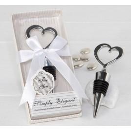 Tapón corazón para botellas caja regalo con lazo 6,7x14,5cm.