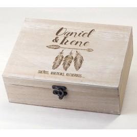 Cofre madera personalizado 23x17cm Sueños, vivencias...