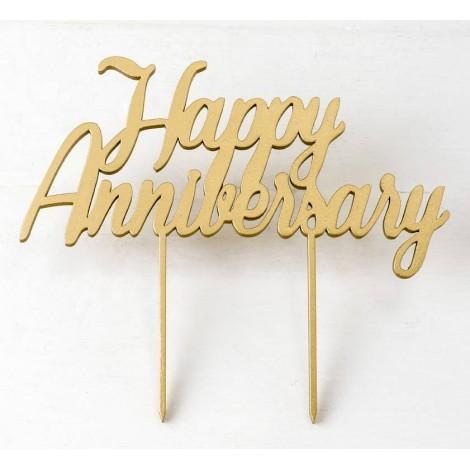 Cake topper de madera Happy Anniversary 13x 21cm.