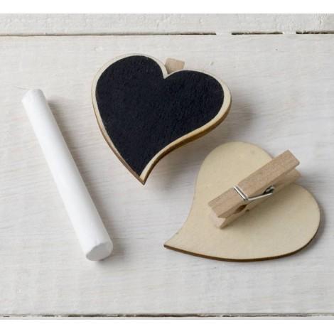 Pinza corazón de pizarra (5cm.) NATURAL tiza incluida, min.6