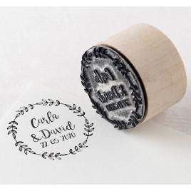 Sello personalizado redondo Corona de olivo 3,5Øx2,5cm.