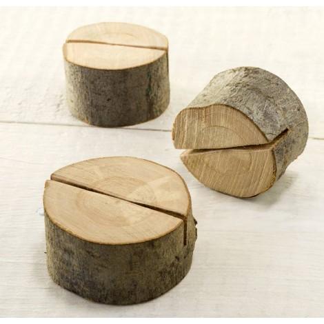Soporte tronco madera Ø5cm.(variable) para tarjetas
