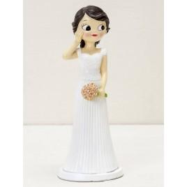 Figura pastel novia Pop&Fun, mano en la mejilla, 21cm.