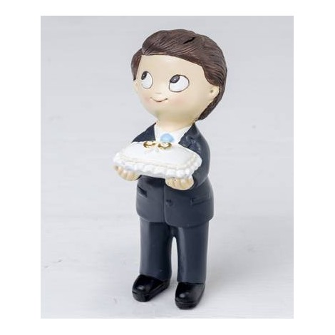 Figura pastel Pop & Fun niño corbata y cojín anillos 11cm.