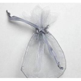 Saquito cristal plata flor 7,7x12,5cm, min.24