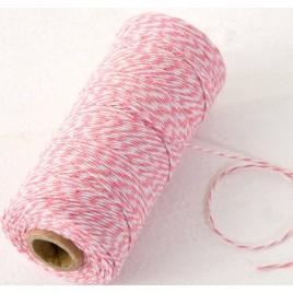 Cordón 4hilox200mts trenzado algodón rosa/blanco