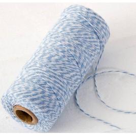 Cordón 4hilosx200mts.trenzado algodón azul/blanco