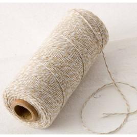 Cordón 4hilosx200mts.trenzado algodón marrón/blanco