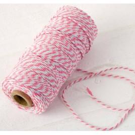 Cordón 12hilosx100mts. trenzado algodón rosa/blanco