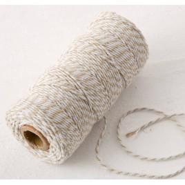Cordón 12hilosx100mts.trenzado algodón marrón/blanco