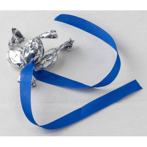 Adorno 3 minifruits plateados cinta azul eléctrico, min.6*