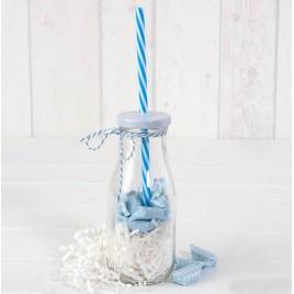 Botellita cristal caña azul/viruta blanca 12caram.min.8