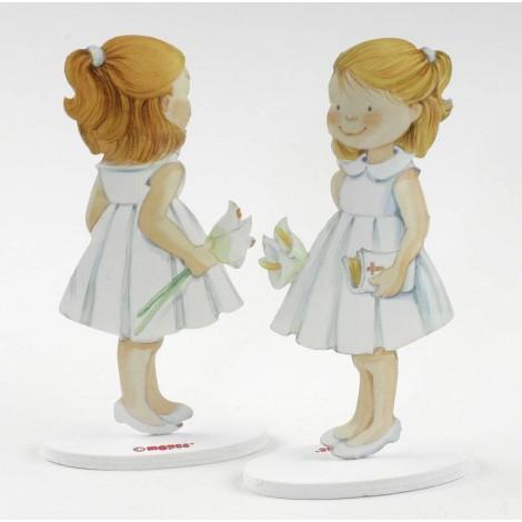 Figura pastel metal niña vestido blanco 16cm