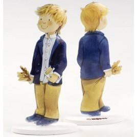 Figura pastel metal niño americana azul 16cm