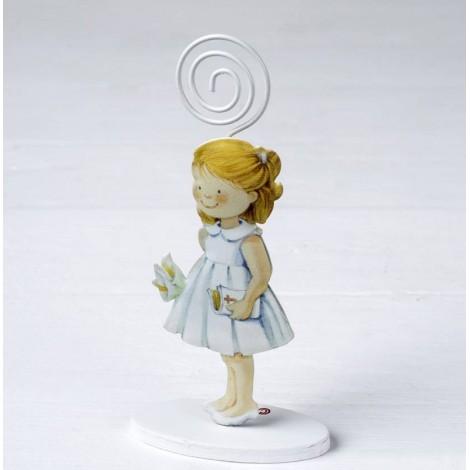 Portafoto metal niña vestido blanco 14cm, min.6