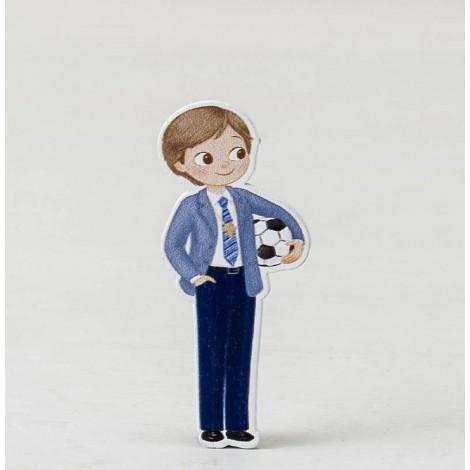 Figura 2D adhesiva niño Comunión con pelota 5,5cm. min10