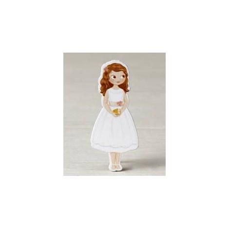 Figura 2D adhes. niña Comunión vestido corto, 5,5cm, min.10