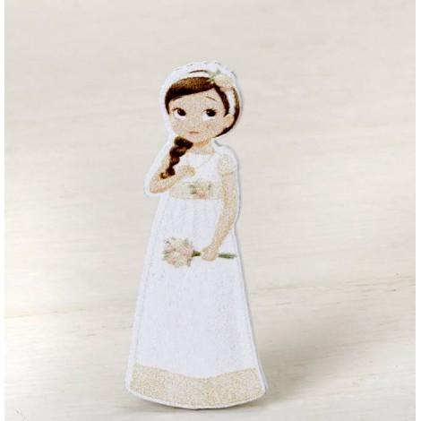 Figura 2D adhesiva niña Comunión romántica, 5,5 cm.,min.10