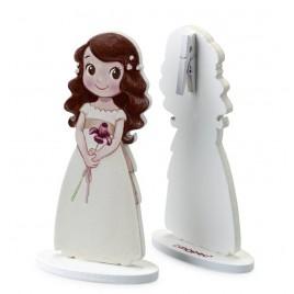 Portafoto niña lirio vestido blanco en madera 12cm, min.6