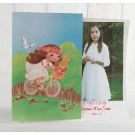 Portafoto de Comunión niña en bici, min.25