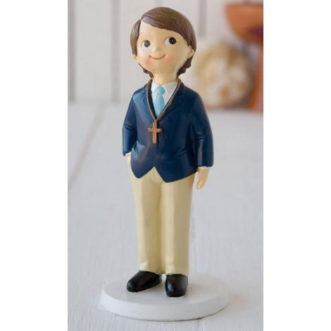 Figura pastel niño Comunión americana azul, 16cms.