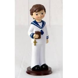 Figura pastel niño marinero Comunión base madera 16cm