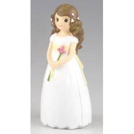 Figura pastel niña Comunión con lirio 17cm, min.2
