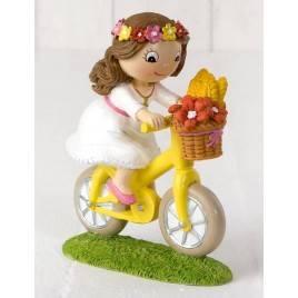 Figura pastel niña Comunión en bici 13,5cm.