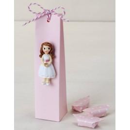 Imán niña Comunión vestido corto con 3 caramelos