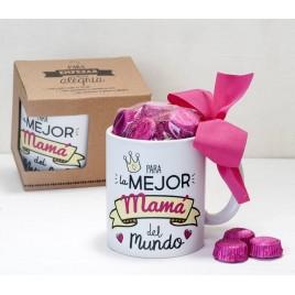 Taza cerámica Para la mejor mamá en caja regalo 6 bombones